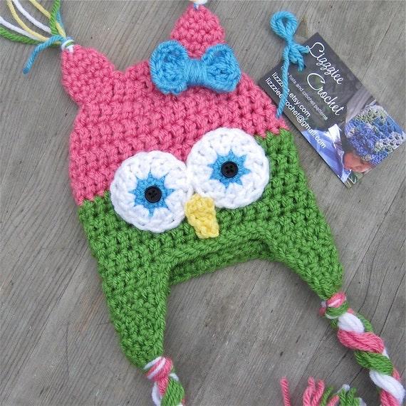 Crochet Patterns Owl Hat : Little Owl Crochet Hat Pattern PDF Easy 6 sizes beanie