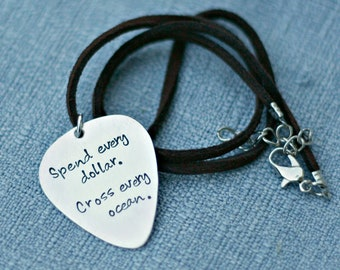 Personalized Guitar Pick Necklace Hand Stamped Necklace Leather Cord