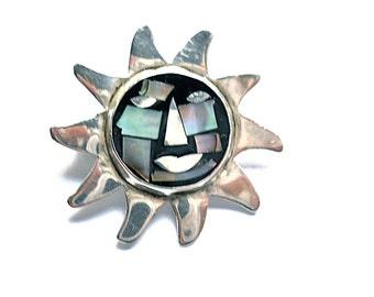Vintage Brooch Sun Taxco Sterling Silver