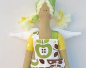 Fabric doll lovely Angel stuffed cloth doll green yellow apple, blonde art doll child friendly- softie plush doll-gift idea for girls