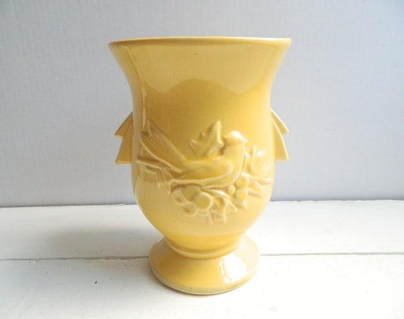 Vintage McCoy Pottery Vase - Yellow Birds & Berries