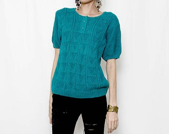 Vintage 90s Teal Knit Sweater