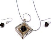 January Birthstone Sterling Silver Garnet 3 piece Jewelry Set