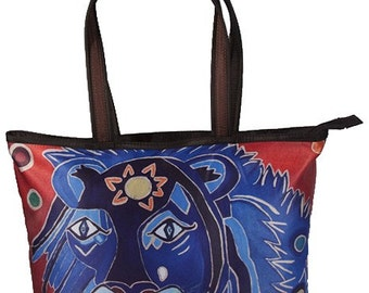 Abstract Lion Large Handbag - Salvador Kitti - From My Original Painting, A King's Tear