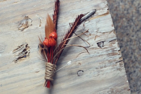 RIGBY WOODLAND BOUTONNIERE - Rustic Feather Boutonniere in Rust
