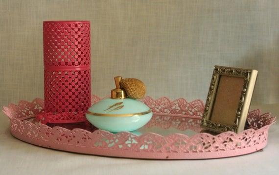 oval mirrored vanity tray hollywood regency pale pink