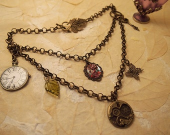 Charmed Gothic Steampunk Dolly kei charm necklet