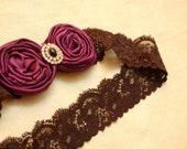 ROSA- Lace and Rosette Headband in Plum Purple
