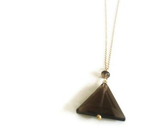 Smoky Quartz Necklace - Brown Jewelry - Triangle Jewellery - Geometric - Gold - Gemstone - Earth Tones - Faceted