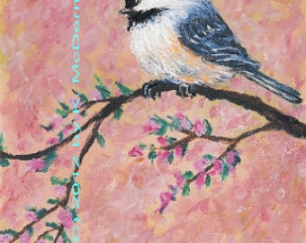 Pink Blossom Chickadees - Bird 2 - 5 X 7 Inch Detail Print  - Brushstroke Enhanced