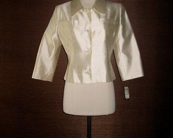 Vintage 1980s Lanvin Paris Designer Jacket Ivory Cream Silk Deadstock NWT Size 40
