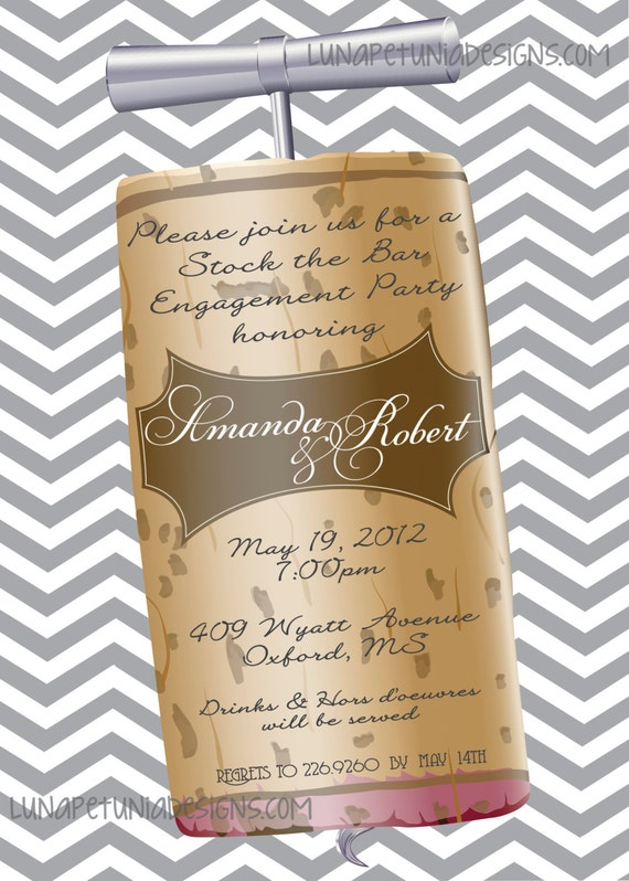 Wine Cork . Chevron . Invitation . Any colors