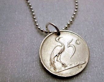 Crane Necklace - Coin Jewelry - Cute little coin necklace - South Africa  - Blue Crane - heron - crane pendant - crane jewelry - coin charm