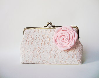 Wedding Party Lace Clutch with Detachable Rose Quartz Silk Flower Brooch (Choose your color) / rustic shabby chic / Vintage bridal Inspired
