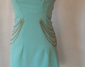 Strapless Teal Green Embellished Club Wear Dress