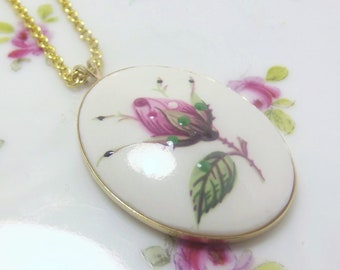 Vintage hand painted ceramic rose pendant necklace pink rose necklace floral flower on gold plated chain