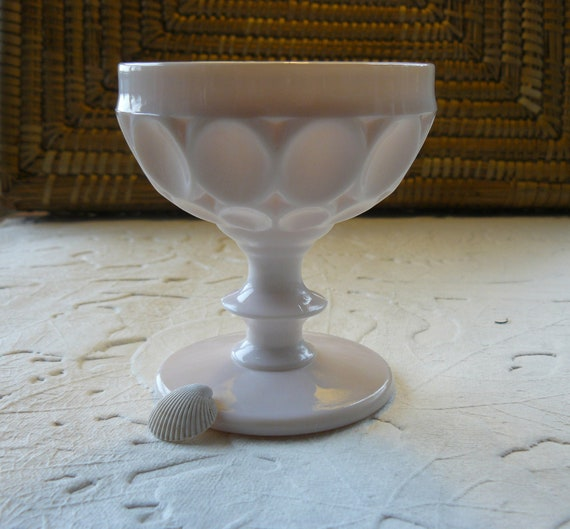 Milk Glass Sherbet or Champagne Glass in Shell Pink, Thumbprint ...