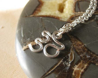Handmade Silver Om Yoga Charm Necklace