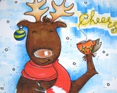 Funny Christmas Card - Moose Card - Holiday Cup of Cheer - May all your holiday stress go Vamoose