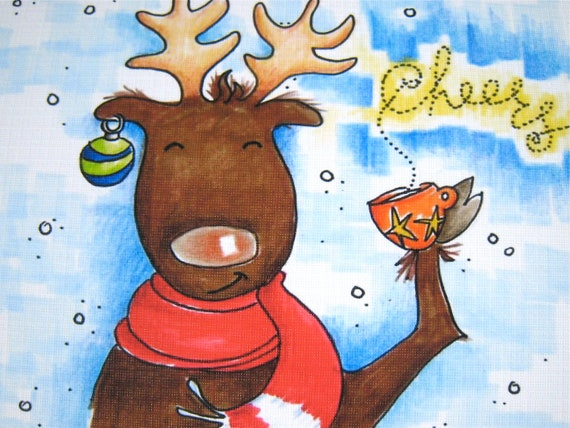 Funny Christmas Card, Moose Holiday Card - Vamoose