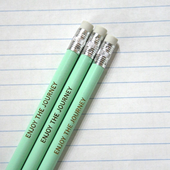 enjoy the journey engraved pencil set of three 3 in mint green.