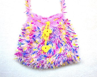 sholder bag, Hairy colored bag, Pouch Crochet Drawstring Pouch Hippie Bag, pink Bag, handmade bag, Purses , White Mixed Bag  hand-knitted.
