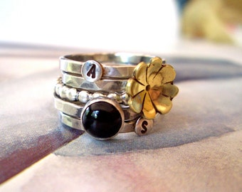 Golden Fleurette Ring // Personalized Stacking Ring in Sterling Silver, Brass, and Onyx