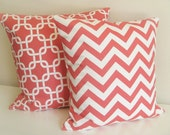 Two Coral Pillow Covers. Chain Link and Chevron. 18 X 18 Inch. Accent Pillows. Toss Pillows. Coral Pink and White.