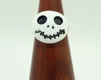 Jack Skellington Ring, Small White Skeleton Face on a Silver Adjustable Band - Tim Burton Inspired