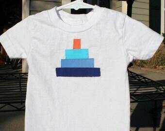 Aqua Blue Orange 1st Birthday Cake Appliqued Shirt, B512