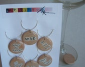 Wine Charms - Set of 6 - Handcut Ransom Note Style