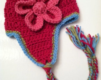 Crochet Hat with Flower and Earflaps, Pink Hat, Crochet Hat, Baby Hat, Newborn Hat, Baby Girl Hat, Pink Hat, Photo Prop