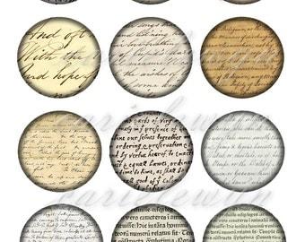 Vintage Handwriting Bottlecap Images / Sepia Victorian Paper Ephemera Cursive Writing Letters / Printable Digital Collage / Instant Download