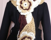 Hand Knitted Scarf Brown, White, Beige, Long Scarf with flowrs, womens scarf, knit scarf