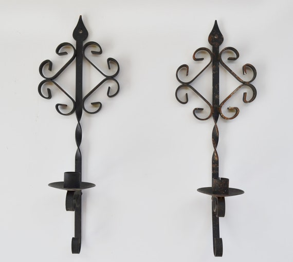Candle Holders Wall Sconces Vintage Black Metal Wall Sconces