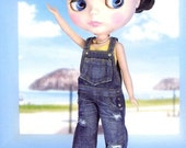 Pattern Used Denim Overalls for Blythe PDF English templates names,Sewing key included