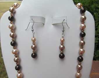 Bridesmaid Jewelry Set Dark Brown Bronze Champagne Pearls and Crystals Bridal Jewelry Set