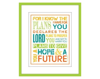Scripture Typography, Wall Art, Jeremiah 29:11