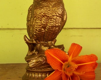 upcycled owl figurine - beautiful bronze color
