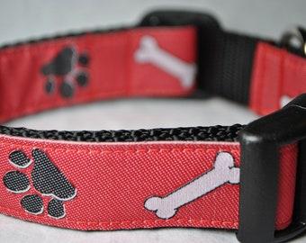 "Paw Prints and Bones Pattern 1"" Adjustable Dog Collar"