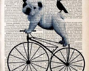 PUG Art HITCHER  Dictionary Dog Pug on bicycle  Print Poster Mixed Media Acrylic Animal Animal Pug Lovers gift