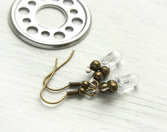 Summer Party Gift Eco Friendly Earrings  Dainty Jewelry Wearable Tech Electronics Tiny Clear LED Light Computer Part Earring Antiqued Bronze