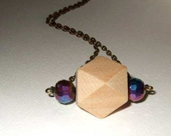 Geometric Necklace, Wooden Bead Pendant, Pale Wood Necklace, Wood Bead Jewelry, 3D Block Necklace, Angular Bead, Natural Wood, Wood Pendant