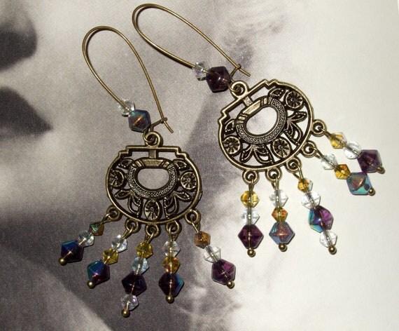 Beaded Earrings, Boho Jewelry, Dangle Earrings, Purple and Yellow, Drop Earrings, Chandelier Earrings, Ornate Earrings, Bohemian Jewelry