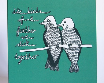 Birds of a Feather Blank Greeting Card