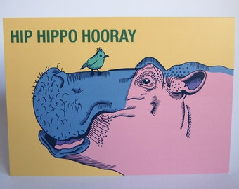 Hip Hippo Hooray Celebration Blank Greeting Card