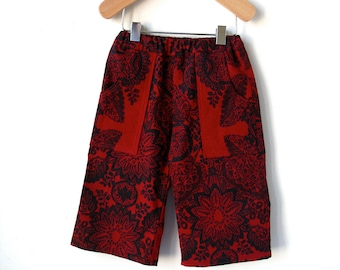 Holiday Pants - Size 12 Month - Marimekko Red and Black Cotton
