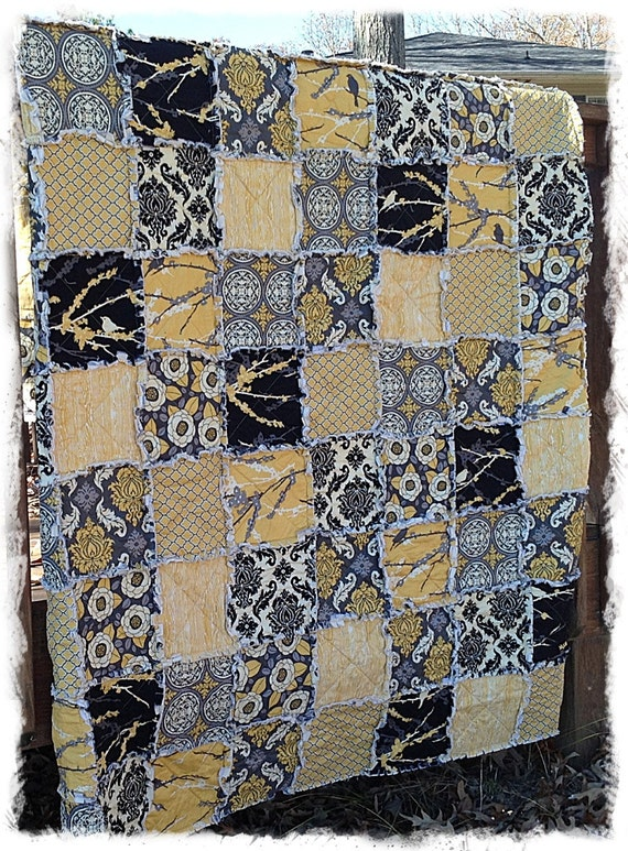 Rag Quilt - Queen king Full Twin Throw Size - Mustard Yellow and Gray Aviary 2 Modern Handmade Bedding