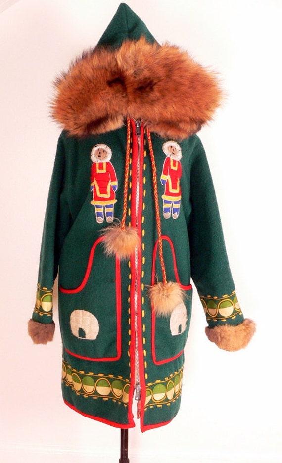 on hold Native Inuit WOOL ANORAK PARKA Fur Hood s-m
