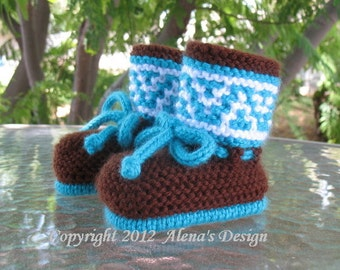 Knitting Pattern 050 - High-Top Baby Booties in four sizes - Newborn Baby Boys Baby Girls Blue Boots Brown Booties Baby Shower Gift Hat Set